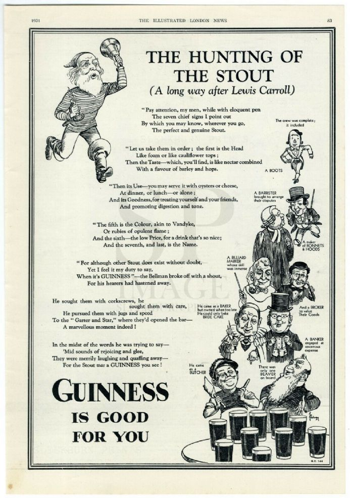 1931 Print GUINNESS ADVERT Hunting The Stout JOHN GILROY Lewis Carroll NONSENSE POEM